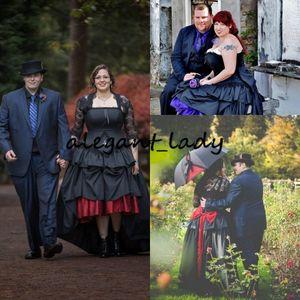 높은 낮은 고딕 블랙 웨딩 드레스 레이스 재킷 빈티지 플러스 사이즈 대안 스팀 펑크 고스 코르셋 국가 웨딩 드레스