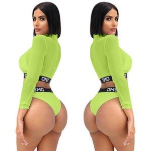 Venda quente Mulheres Sexy Bikini Set Praia Swimwear Swimsuit Maiô 2019 Carta de Verão Impresso Malha Verde Underwear Maiôs