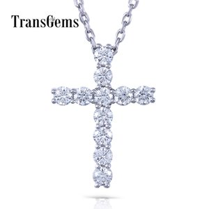 Transgems en forma de cruz 14 k oro blanco Moissanite 3 mm F Color 1.1 Ctw brillante cruz colgante collar para mujer Y19061203