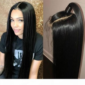 Natural Black 1b# Soft Long Silky Straight Full Lace Wigs with Baby Hair Heat Resistant Glueless Synthetic Lace Front Wigs for Black Women