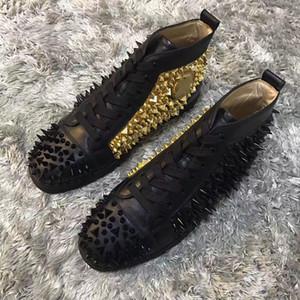 Yüksek Kaliteli erkek Ayakkabı Kırmızı Tabanlar Tasarım Siyah-altın Kadınlar Için Sneakers Ayakkabı, Erkekler Kırmızı Alt Pik Pik Spike Casual Yürüyüş Yüksek Üst Leisu