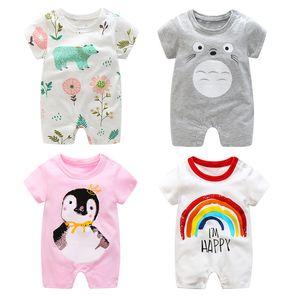 2019 Summer New Style Short Sleeved Girls Dress Baby Romper Cotton Newborn Body Suit Baby Pajama Boys Animal Monkey Rompers