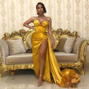 Sweetheart 2020 платье Золото Пром платья атласная Длинные вечера Высокий Сплит Дубай платье партии Robe Vestito Lungo