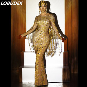 Gold Crystals Sequins Tassels Long Party Dress Fashion Women Prom Wedding Floor Length Rhinestones Dresses Singer Host Sexy Stage Costume