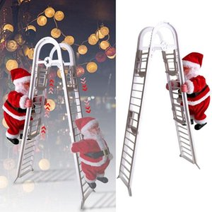 Lovely Christmas Electric Climbing Ladder Santa Claus Toys Christmas Doll Double Track Ladder Climbing Toys Gift For Children