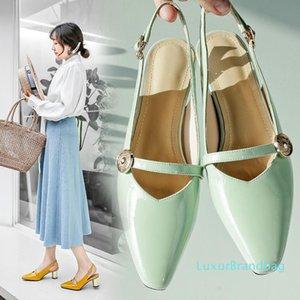 Pop2019 Piccolo autunno Piazza Coarse con i pattini delle Genuine Leather Sandals alla schiena della donna Solid Air colori Hasp Will scarpe marea delle donne