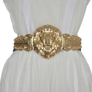 Fashion Elegant Golden Lion Head Ladies Elastic Belt Women Metal Wide Waistband For Dress Female Brand Designers Waist Belts Dress waistband