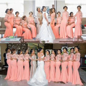 2020 African Plus Size Bridesmaid Dresses Half Long Sleeves Top Lace Sweep Train Maid Of Honor Evening Occasion Gowns