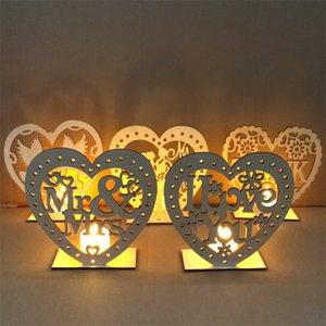 MR conseil de MRS décorations de mariage rustique bricolage créatif ornement en forme de coeur boisé led bougie partie du parti articles 4jm p1
