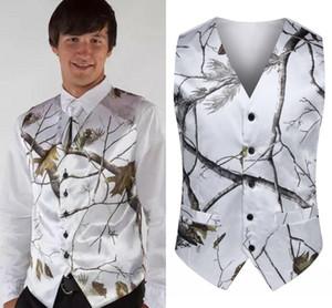 2020 Mode blanc Camo Groom Vestes + cravate pour vêtements de dessus de mariage Gilet Realtree printemps Camouflage Slim Fit Gilets homme (veste + cravate) Fait sur mesure