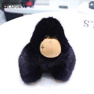 2019 Glaforny Keychain импорт норка волос Шимпанзе плюшевых кулон King Kong орангутанга мешок украшения мужчины ключа автомобиля брелок мех кольцо