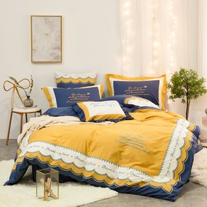 Luxury Gold Embroidery BeddingSets King Queen Size EgyptianCotton DuvetCover Bedsheets Lace Europe Quality Palace BeddingKit Comforter Set