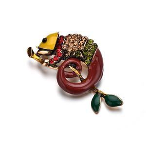 Esmalte colorido broches de lagarto para las mujeres Rhinestone Vintage Animal joyería creativo abrigo traje accesorios broche b162