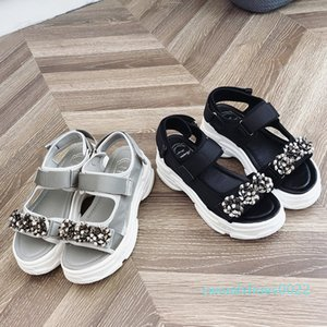 Rimocy Glitter Çiçek Chunky Platformu Sandalet Kadınlar Moda Kalın Alt takozları Gladyatör Ayakkabı Kadın Bilek Kayışı Sandalias 2020 c22