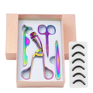 New or coloré en acier inoxydable 3d Sourcils Scissor Mink Brucelles Cils Cils Bigoudi Set Maquillage de coupe des cheveux Scissor Maquillage
