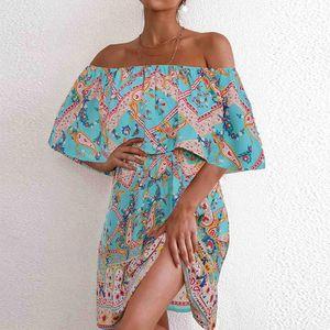 de sexy vestido Mulheres Summer Fashion Bohemian Vestido Metade Imprimir Alças Festa solto Halter Cloak mangas Strapless