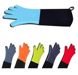 Silicone Forno Mitts extra longas Profissional Silicone luva com acolchoado Liner Churrasco Cozinhar Assar Grelhar Glove Forno Ferramentas LSK192