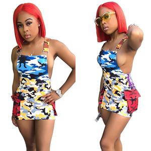 여성 캐주얼 드레스 섹시한 여름 의류 플러스 크기 조정 가능한 suspender 스커트 미니 드레스 / 칼 민소매 backless 위장 555 드레스