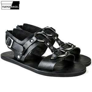 2019 neue Mann Sandalen echtes Leder-Schuhe bördeln Außerhalb beiläufige Wölbungs-Bügel-Wohnungen Männer Street Strand Sandalen Schuhe