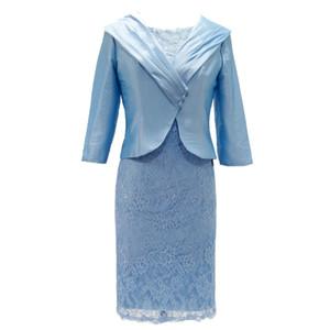Abiti per la madre Abiti per la madre della sposa con giacca da sposa Festa dell'ospite Plus Size Lace Knee Length Flowing Guaina