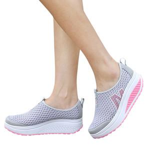 Новая Женская обувь повседневная мода обувь для ходьбы Высота платформы увеличение женщин мокасины воздухопроницаемой сетки качели клинья обуви