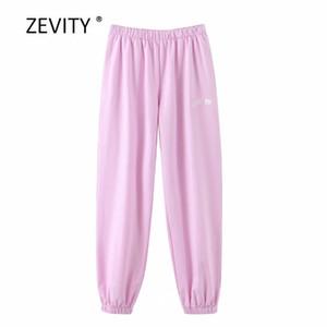 Zevity Yeni Kadın moda harfler pembe koşu pantolon nakış şık kadın elastik bel rahat pantalones mujer pantolon P857