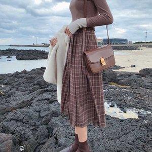 Estilo da manta MiShow Atumn Vintage Inverno saia Mulheres cintura alta caual saia plissada MX19D1729