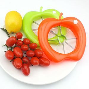 En forma de manzana de plástico Fruta Splitter Venta al por mayor Hogar creativo Cocina Acero inoxidable Corper Slicer de cocina Herramientas vegetales de cocina BH0406 TQQ