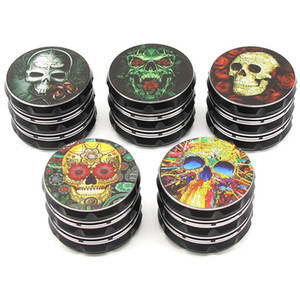 Factory Direct Sale Creative Skull Printed 4 Layers 63mm Aluminum Alloy Herb Grinder Skull Cartoon Audio Tobacco Grinder DHL Free Shipping