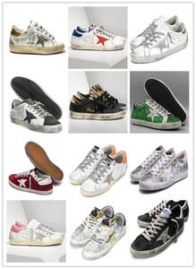 sneakers vecchio stile di alta qualità Vera Pelle Villous Derma pattini casuali di lusso del Mens E Donne Superstar allenatore 36-45