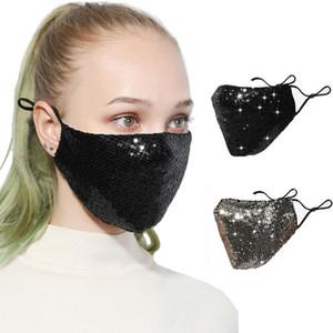 Moda Bling Sequins Yüz Maskesi toz geçirmez Koruyucu Maskeler Yıkanabilir Yeniden kullanılabilir Elastik kulak askısı Ağız Bisiklet Black Gold DHL Kargo Maske