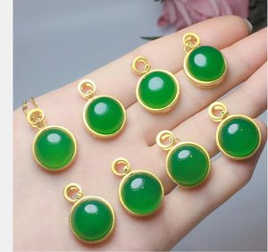 Natural emerald chalcedony pendant with free shipping X120