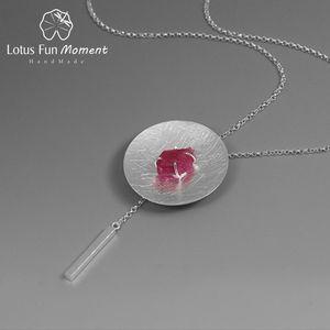Lotus Moment Fun réel Argent 925 Natural Stone Original Fine Jewelry personnalité ronde Collier avec pendentif pour les femmes