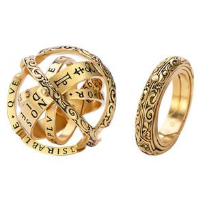 Miglior dell'annata di vendita astronomico sfera Anello stereoscopico rotante pieghevole unisex Cosmic l'anello di barretta di moda Hipster gioielli di personalità