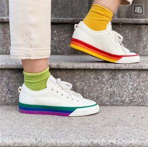 2019 New Nizza Pride Schuhe Regenbogen Mandarin Duck Love Unites Casual Classic Skate Schuhe Männer Frauen Leinwand Shose EF2319 Größe 36 44