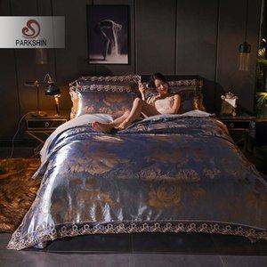 ParkShin Bedding Set Bed Linen Euro Cotton Flat Sheet Double Queen Pillowcase 4PCS Duvet Cover Set Tencel Silk Bedspread