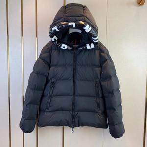 allentato piumino grande formato degli uomini delle donne incappucciato giù lettera giacca stampa spessore inverno caldo esterna della piuma sportivo 2019 nuovo MM1