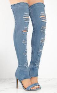 Nuove donne di design sexy sopra il ginocchio blu Gladiatore di jeans stivali cut-out stile sottile coscia lunga tacco alto stivali Jean scarpe affascinanti