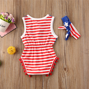 الصيف طفل الملابس لطيف طفل الفتيات أكمام الولايات المتحدة الأمريكية أيام الاستقلال الشاملة hairbands الرضع قطعتين مجموعة الأحمر مخطط حللا D6415