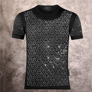 Philip Plain Brand Мужские Дизайнерские Футболки Firmata Uomo Fashion Luxury Designer T Shirt Summer Homme Mens Skull Tshirt Tee Tops 8328