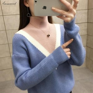 New 2020 Winter Women Sweaters Fashion Turtleneck Batwing Polyester Striped Pullovers Plus Size Loose Knitted Sweaters Female Jumper Tops