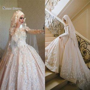 Elegante Dubai lusso 2020 sfera pizzo musulmana abito bianco da sposa Maniche lunghe Plus Size Abiti da sposa Applique