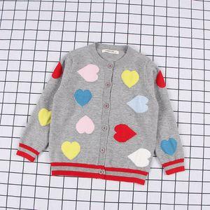 Kids' Sweater Childrenswear Autumn Dehaired Angora Core-Spun Heart Woven Flowers CHILDREN'S Knit Cardigan Coat