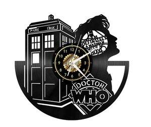 Doctor Who Vinil Duvar Saati Sanat Clock El yapımı Sanat Kişilik Hediye (Boyut: 12 inç, Renk: Siyah)