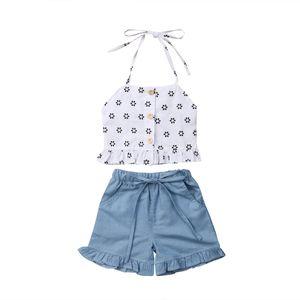 Meninas crianças roupas de verão Criança Crianças Baby Girl Floral Impresso Strap Halter Cortar Tops T-shirt + Bow shorts jeans 2pcs Conjuntos Hot