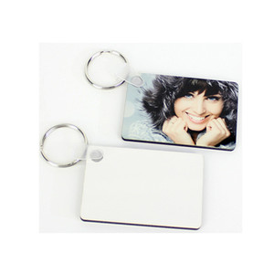 Sublimation Blank Keychain MDF-Platz aus Holz Key-Anhänger Thermotransfer Doppelseitige Schlüsselanhänger Weiß DIY Geschenk 60 * 40 * 3mm Schlüsselanhänger A03