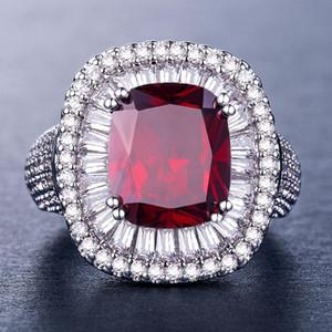 Klasik Retro Kırmızı Kristal Zirkon Prenses Yüzükler Lüks Geometrik Kare Tam Zirkon Kadın Yüzükler Parti Takı Anel Feminino