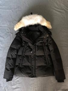 كندا الأزياء ماء دافئ شتاء Windstopper ذئب الفراء سترة whyndham ولف الجلد معطف الفرو السميك الدفء -30 درجة