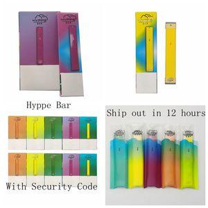 Hyppe Bar Tek Aygıt Başlangıç Seti ile Güvenlik Kodu 280mAh Pil Vape Kalem 1.3 mi Kapasitesi Vape Kartuş Ambalaj boşaltın