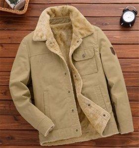 Los hombres de color sólido Agregar terciopelo chaqueta informal para hombre de la solapa del cuello abrigos sueltos invierno Epaulet outwear la ropa de negocio